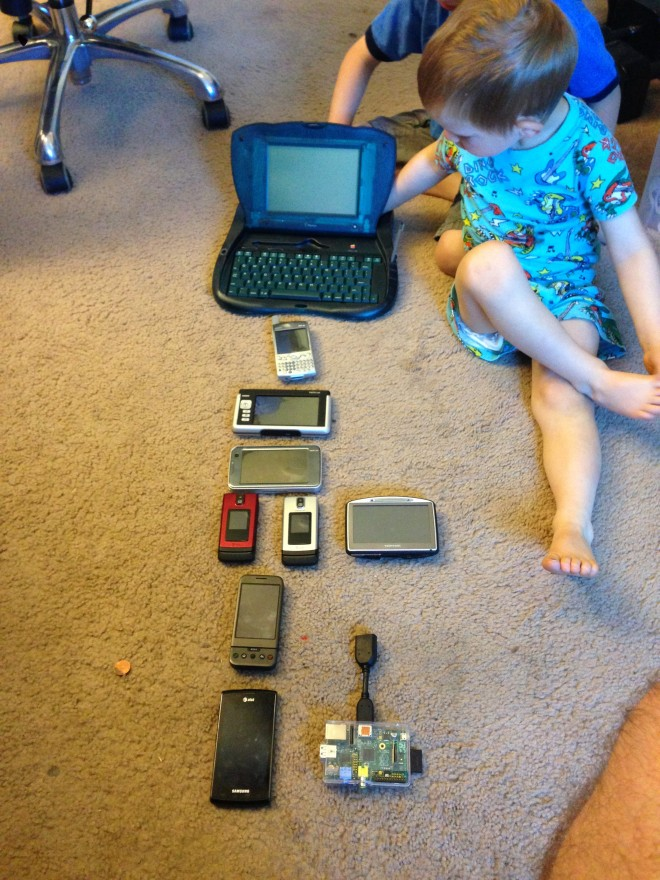 Patrick with many devices